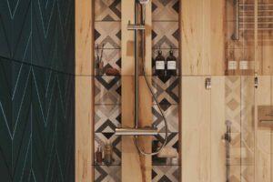 Dřevo a tmavězelená v koupelně