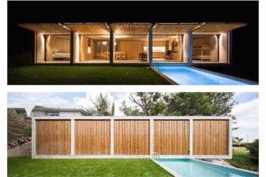 Obdélnikový prosklený dům s bazénem