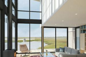 Obývací část s vysokým stropem a výhledem na moře