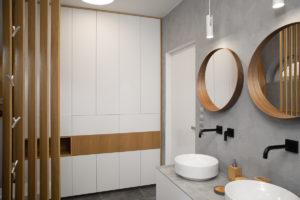 Bílošedá moderní koupelna s dubovým detailem